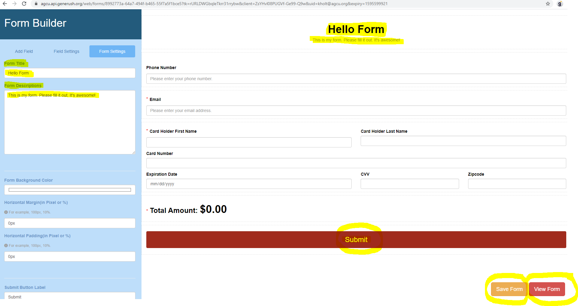 Form Settings Graphic Use