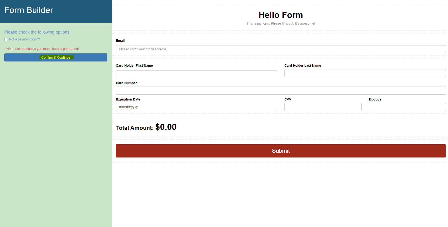 Form Builder Payment Form Graphic