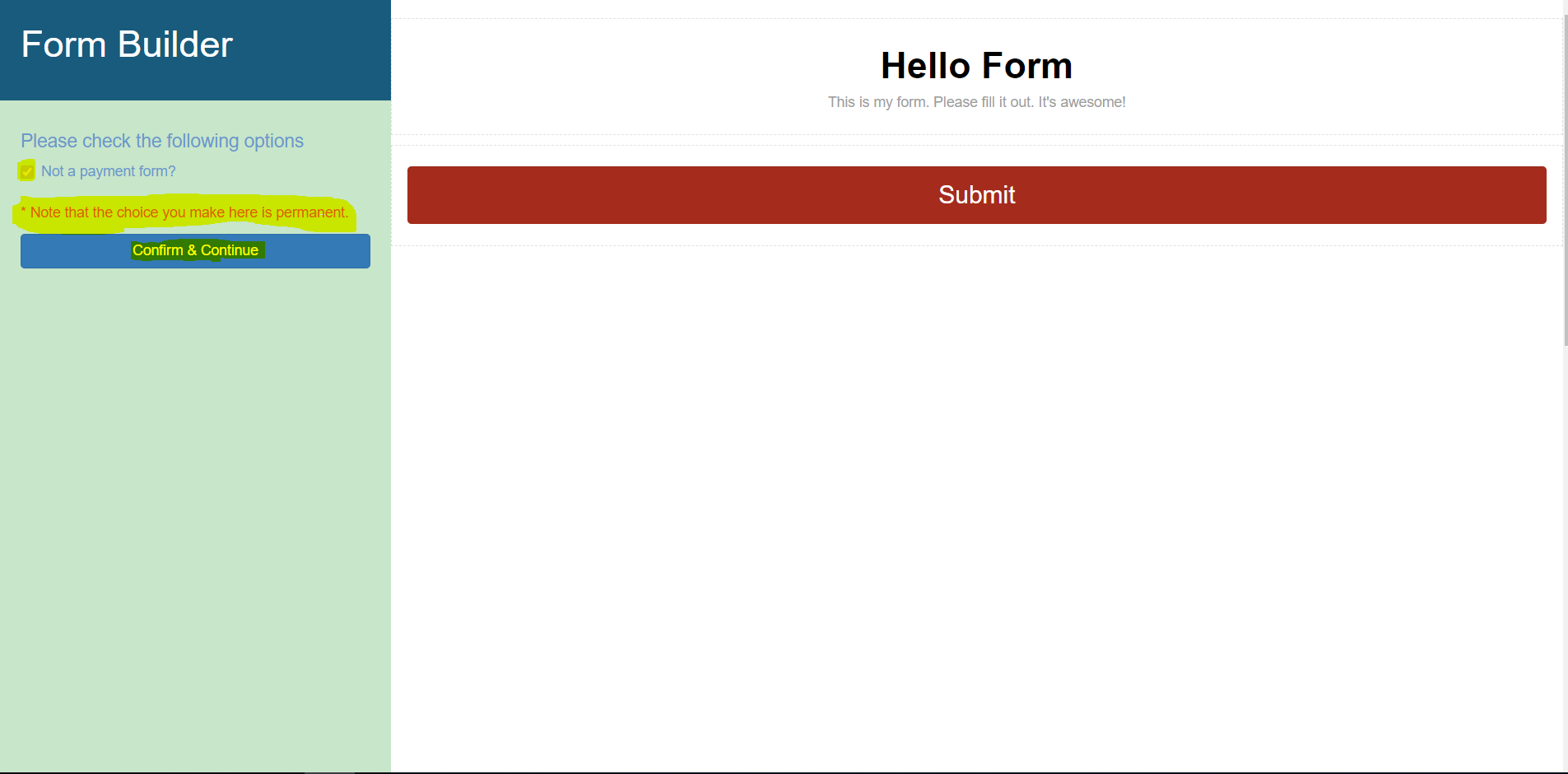 Non Payment Create New Form
